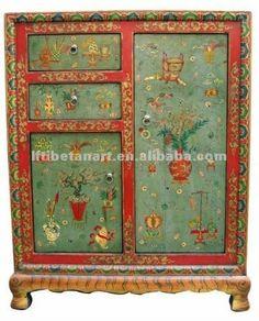 Hand Painted Tibetan Cabinet Tibetana De Madeira Armário Pintado à Mão Outros Móveis Antigos