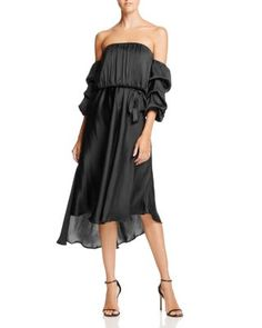 Bardot Caught Sleeve Off-The-Shoulder Midi Dress | Bloomingdale's