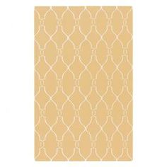 Create a beautiful focal point in your foyer, living room, or master suite with this eye-catching rug.  Product: RugConstruction Material: 100% WoolColor: Yellow and ivoryFeatures:  FlatweaveMade in IndiaHand-woven Note: Please be aware that actual colors may vary from those shown on your screen. Accent rugs may also not show the entire pattern that the corresponding area rugs have.Cleaning and Care: Blot stains