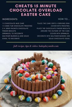 The ultimate cheats Minute Chocolate Overload Easter Cake' looks stunning and tastes even better. talk about a show stopping Easter table centrepiece! Chocolate Mud Cake, Chocolate Frosting, Easter Chocolate, Chocolate Finger Cake, Yummy Treats, Delicious Desserts, Sweet Treats, Easter Cake Images, Cake Recipes
