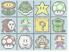 Mario plastic craft cross stitch pinterest plastic canvas mario