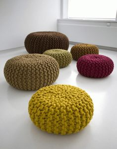 Furniture, Red Knitted Poufs Yellow Knitted Poufs Brown Knitted Poufs Black Knitted Poufs By Christien Meindertsma White Marble Tile Floor: ...