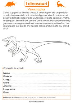 I Dinosauri: Schede Didattiche per la Scuola Primaria | PianetaBambini.it History For Kids, Daycare Crafts, Teaching History, Primary School, Education, 3, Paleo, Earth, Geography