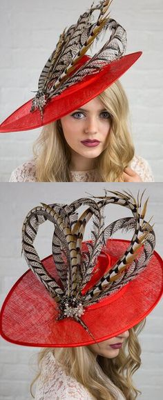 171b8fd1794 Bright Red with Pheasant Feathers Saucer Slice Designer Hat Fascinator  Hatinator
