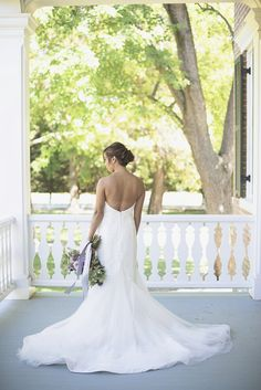 Elegant Southern Style Mansion Wedding | Gray and Lavender | Bridal Portrait