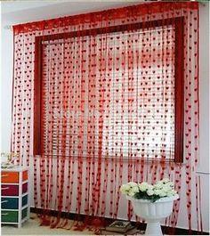 Flaming-Red-Heart-Curtains-Window-Door-Separators-Designer-HOME-DECOR