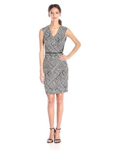 Sleeveless V Neck Printed Belted Dress by Calvin Klein