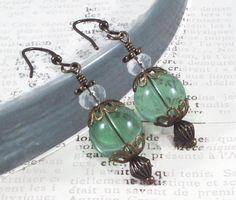 Sea Green Glass Earrings Victorian Inspired Clear by LeParisMetro  #Etsy #EtsyRMP