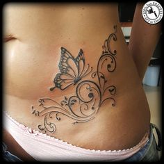 Butterfly with tendrils by arturtattooart – foot tattoos for women Tummy Tattoo, Belly Tattoos, Body Art Tattoos, New Tattoos, Cool Tattoos, Tatoos, Tattoo Art, Tattoos On Side, Stomach Tattoos Women