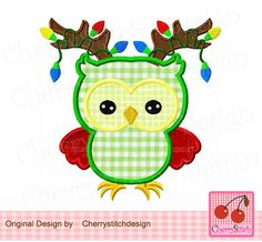 Christmas reindeer owl CH0020,Christmas owl,Christmas Digital Machine Embroidery Applique -for 4x4 5x7 6x10 hoop by CherryStitchDesign on Etsy
