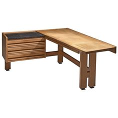 Modern Desk, Mid-century Modern, Table Furniture, Furniture Design, Oak Desk, Old Factory, High Back Chairs, Writing Table, Open Shelving