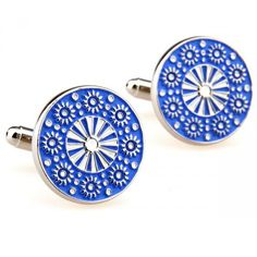 Share this with your friends and receive a 5% copon.Click here to wirte your message. Elegant Blue Flower Round Cufflinks