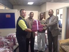 As part of Magalies Park community involvement and social development programme we distribute our old linen to the needy. Joseph Khoza a staff member of Magalies Park for 25 years ( a Pastor himself) approached us to donate to the less fortunate in the Letlhabile area especially during the cold winter. On the picture is Muis Lombard our Resort Manager and Rev. Zama Buyambo and Rev. MJ Nkwashu from the Apostolic Five Fold Ministries with Joseph Khoza also a member of the church.