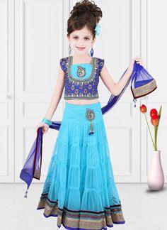 Graceful Turquiose Net Designer Kids Wear Lehenga Choli