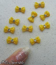 3D Nail Art DIY 10 pcs Bows Nails Ribbon Resin w/ Rhinestone Cabochon Supplies for Craft/Scrapbooking Yellow Kawaii on Etsy, $2.64