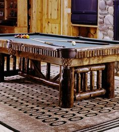 The Alpine Pool Table for Rustic Cabin Decor - perfect cabin hang out for the family!