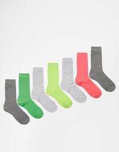 Socken von ASOS Feinstrick gerippte Bündchen Kontrastfarben Maschinenwäsche Stoff 1: 79% Polyester, 20% Nylon, 1% Elastan Stoff 2: 48% Baumwolle, 30% Polyester, 20% Nylon, 2% Elastan Siebener-Packung