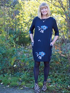 what lizzy loves tulchan floral tunic dress bee jewellery leopard boots over 40 Day To Night Dresses, Day Dresses, Casual Dresses, Fashion Dresses, Bee Jewelry, Jewellery, Leopard Print Boots, Smart Dress, Fall Looks