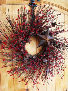 Primitive RUSTIC RED STAR Twig Wreath-Holiday Door Wreath-Fall Wreath-Patriotic Door Decor-Scented Cinnamon Stick-Choose your Scent. Holiday Door Wreaths, Summer Door Wreaths, Holiday Wreaths, Twig Wreath, Berry Wreath, Wreath Fall, Western Christmas, Primitive Christmas, Primitive Wreath
