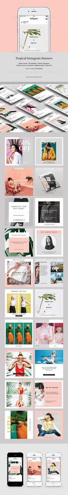Tropical Instagram Banners - #Social Media #Web Elements Download here: https://graphicriver.net/item/tropical-instagram-banners/19503318?ref=alena994