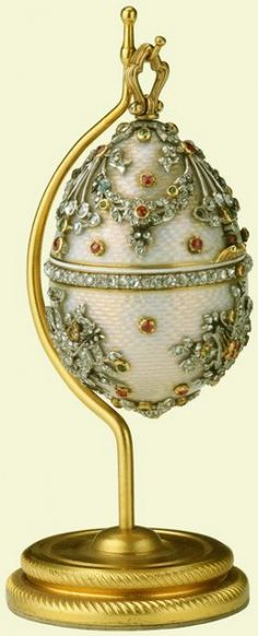 Egg in the British Royal Collection; diamonds, rubies, emeralds, gold, enamel.
