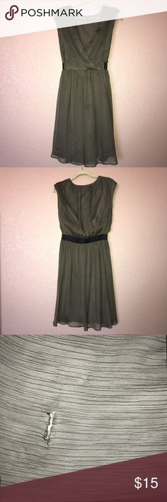 "H&M Olive green dress with black belt H&M Olive green dress/ Length:21""/ 100% polyester/ small tear at the hem of the skirt, otherwise in excellent condition H&M Dresses Mini"