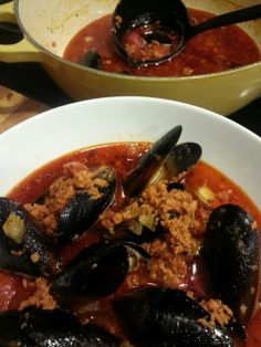 Beer Steamed Mussels with Chorizo and Crusty Bread