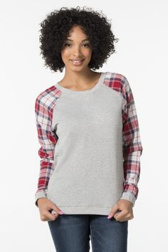 Shop new arrivals at Ardene for a variety of tops, bottoms, dresses, lingerie, shoes and accessories. New styles drop daily for constant new trends to love. New Trends, Latest Trends, Off Shoulder Fashion, Girl Outfits, Fashion Outfits, Grey Sweater, Heather Grey, Topshop, Plaid