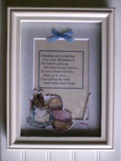 Babies Don't Keep Poem Framed Beatrix Potter Hunca Munca  baby shower gift nursery decor $15.00