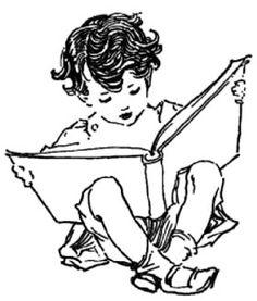 little boy reading a big book