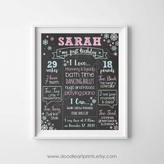 First Birthday Chalkboard Poster Sign  Girl by DoodleArtPrints