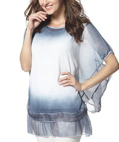 Loving this Blue Ombré Layered Cape-Sleeve Tunic - Women on #zulily! #zulilyfinds