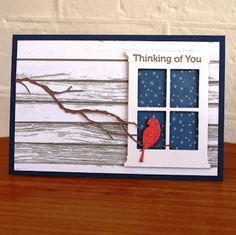 handmade window card from Dreams & Other Realities . die cut with frame with starry night outside .like the siding for the house. Holiday Cards, Christmas Cards, Memory Box Cards, Window Cards, Window Frames, Bird Cards, Get Well Cards, Sympathy Cards, Creative Cards