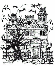 NORTHWOODS RUBBER STAMP Halloween Haunted house