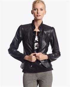 White House Black Market Leather blazer