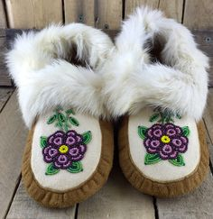 Pink and Purple Beaded Flowers on Hand Tanned Moose Hide Moccasins with White Rabbit Fur