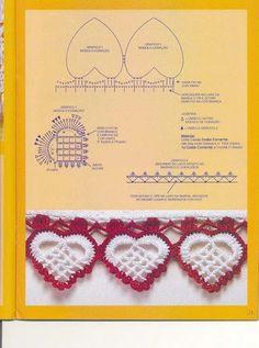 Crochet heart edging. http://maoxiaoling570811.blog.163.com/blog/static/177911152201303101442701/