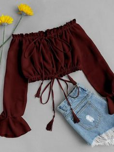 Off Shoulder Drawstring Crop Top BURGUNDY