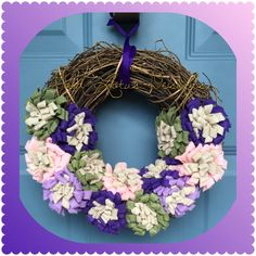 "Grapevine Wreath with Handmade Purple/Green/Pink Felt Flowers, 12"" *** Gold Lotus Designs ** Custom Handmade Crafts by Kim Lynn ** www.facebook.com/GoldLotusDesigns"