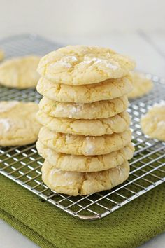 Lemon lime cookies ~T~Love these cookies. The flavor comes from lemon and lime zest. The dough is rolled in powdered sugar before you bake them. So good.