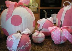DIY: Pink pumpkins -- many with lace or polka dots.  How fun! Halloween 'Pink-O-Ween' Theme Party Decorations & Ideas