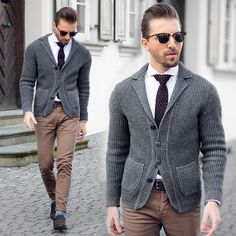 Get this look: http://lb.nu/look/8131866 More looks by Mali Karakurt: http://lb.nu/malikarakurt Items in this look: Marc´O Polo Cardigan, Ray Ban Sunnys, Bugatti Tie, Eton Shirt, Asos Chino, Paul Evans Shoes #casual #chic #dapper