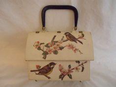 wooden purse bakelite handle bird decor creme color free shipping  $35.00