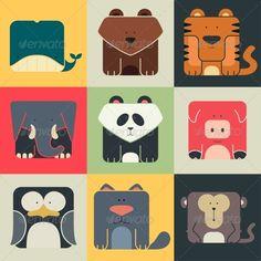 Flat Set of Square Animal Icons