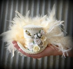 Micro Mini Top Hat Ivory Flower Hat Alice in by ChikiBird on Etsy