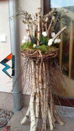deco-the spring-easter-Behiye- deko-fruhjahr-ostern-behiye deco-spring-easter-behiye – – - Diy Easter Decorations, Christmas Decorations, Wedding Decorations, Diy Osterschmuck, Easy Diy, Twig Art, Deco Champetre, Deco Nature, Deco Floral