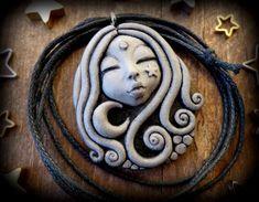 Moon goddess pendant, moon and star necklace, clay goddess necklace, goddess… Polymer Clay Kunst, Polymer Clay Pendant, Fimo Clay, Polymer Clay Projects, Polymer Clay Creations, Polymer Clay Jewelry, Bijoux Fil Aluminium, Clay Faces, Moon Goddess