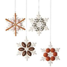 Set of 4 Sports Snowflake Ornaments - Gift Boxed Midwest-CBK http://www.amazon.com/dp/B00MOVFEC2/ref=cm_sw_r_pi_dp_3PnJub1SMMWDF