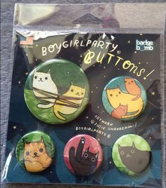 SET OF 5 CAT BUTTON PINS HELPS VET OUR FERAL CATS KITTENS CHARITY CAT RESCUE #CatButtonPin