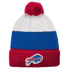 Buffalo Bills Youth Vintage Ribbed Cuffed Knit Hat - White/Red